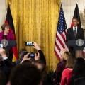 Rueda de prensa realizada hoy en la Casa Blanca con Angela Merkel y Barack Obama como protagonistas. (Foto-AFP)