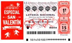Sorteo de lotería nacional ,14 de febrero de 2015, extraordinario de San Valentín