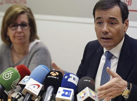 Tomás Gómez durante la rueda de prensa de hoy. (Foto-rtve)