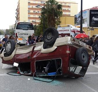 Un violento accidente de tráfico.