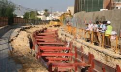 Imagen de una obra de canalización en el caso urbano de Paterna