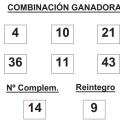 COMBINACIÓN GANADORA DEL SORTEO DE BONOLOTO DE FECHA 10 DE MARZO DE 2015.