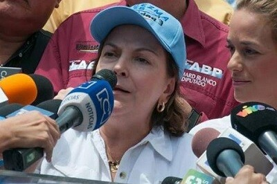 Capriles en una imagen de archivo reclamando la libertad de su esposo, Antonio Ledezma, alcalde de Caracas.