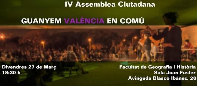 Cartel IV Asamblea de València en Comú.