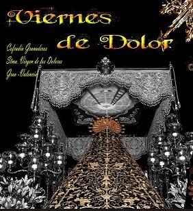 Cartel de la Cofradía Granaderos Grao donde se ve la imagen del manto que cubre a la Virgen.