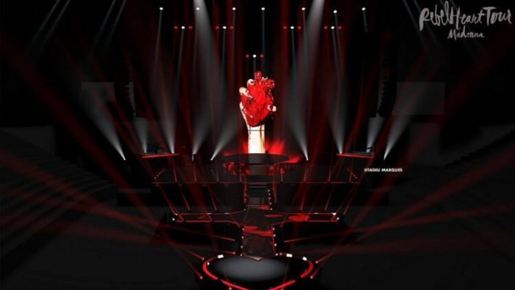 Diseño 3D del escenario del Rebel Heart Tour