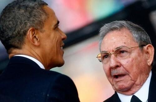 Encuentro entre Raúl Castro y Barack Obama.