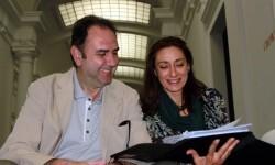 Enrique Viciano y Rosana Pastor durante la lectura de un guión.