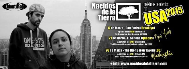 Flyer promocional de la gira de Nacidos de la Tierra por los Estados Unidos.