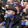 IU, Podemos y Equo protestan en el Congreso contra las 'leyes mordaza' aprobadas por el gobierno de Mariano Rajoy. (Foto-Agencias)
