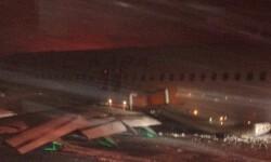 Imagen del avión tomada desde la televisión canadiense.