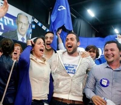Los seguidores del partido Likud se mostraban contentos de la victoria de su lider.