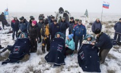 The International Space Station crew of Elena Serova and Alexander Samokutyaev of Russia and Barry Wilmore of the  U.S., rests shortly after landing southeast of Dzhezkazgan in central  Kazakhstan