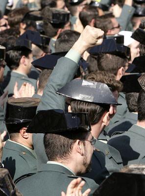 Protestas de guardia civiles en una imagen de archivo.