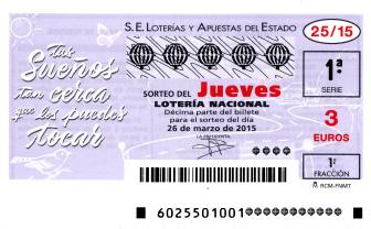 Sorteo de la Lotería Nacional del jueves 26 de marzo de 2015