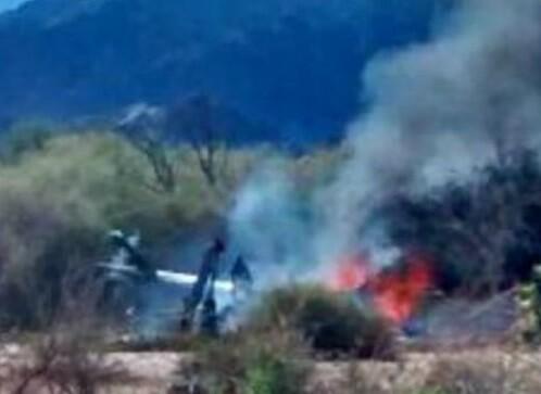 Uno de los helicópteros caídos tras el choque en el aire. (Foto-RiojaLibre.com.ar)