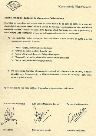 Acta del Jurado Finalistas del Certamen ' class=