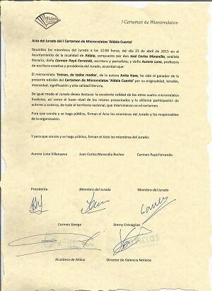 Acta del jurado del Microrrelato Ganador.