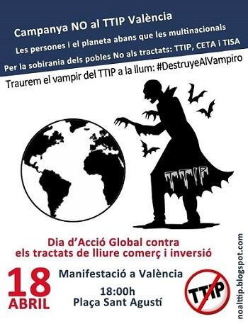 Cartel para la convocatoria de la manifestación contra el TTIP.