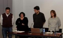 Cuatro de los Miembros de València en Comú-Guanyem en la  presentación de su proyecto.