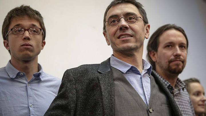 Errejón, Monedero y Pablo Iglesias en un acto celebrado en Madrid.