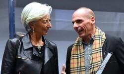 La presidenta del FMI Christine Lagarde y el ministro de Finanzas griego, Yanis Varoufakis.