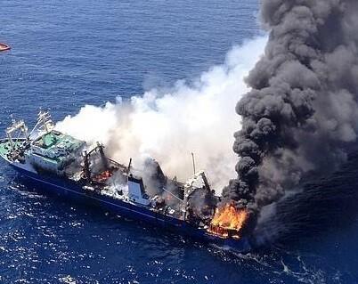 Las Palmas de Gran Canaria zona del hundimiento del buque.