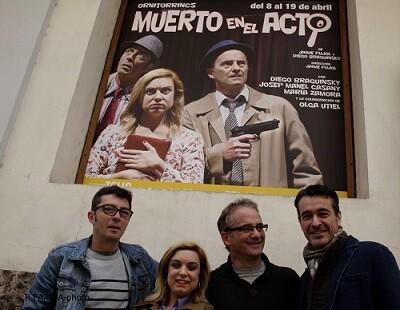 Los actores Casany, María Zamora, Braguinsky y el director Pujol.