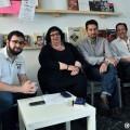 Miembros de València en Comú en una charla con los medios. (Foto-Gabriel Rodríguez)