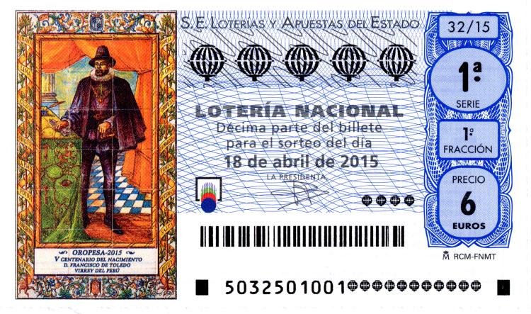 Sorteo de lotería nacional del 18 de abril de 2015