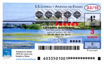 Sorteo del jueves de lotería nacional 23 de abril de 2015