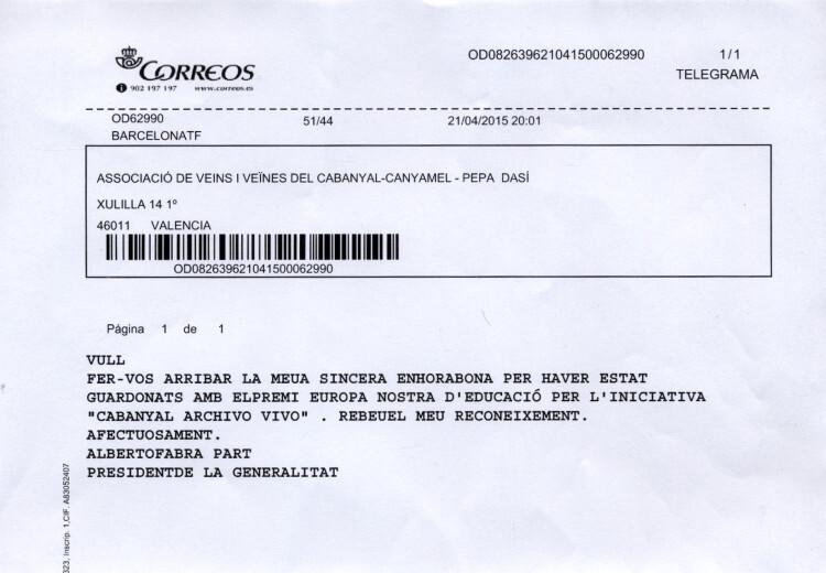 TELEGRAMA FELICITACIÓN PRESIDENTE GENERALITAT