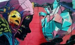 Un muro del barrio del Carmen convertido en un gran 'mural artístico'.