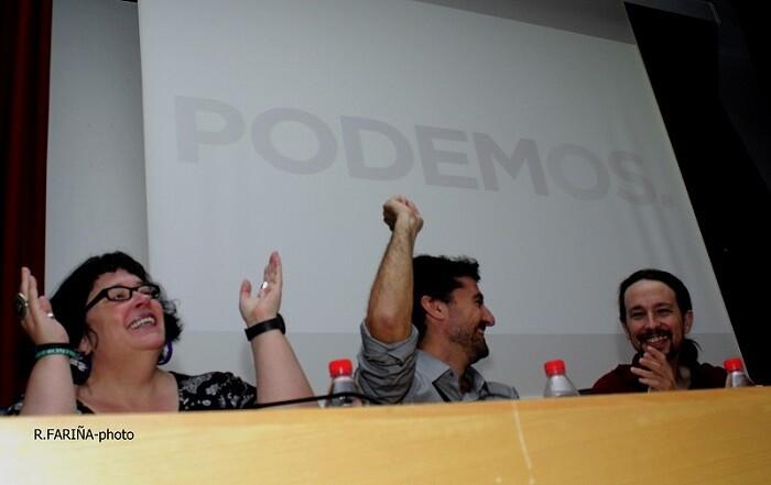Áurea Ortíz, Jordi Peris y Pablo Iglesias.