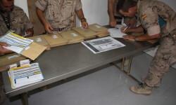 Instalaciones del locutorio telefónico de la Base Gran Capitán, utilizadas para la votación MDE