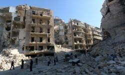 Alepo destruida por los barriles bombas.