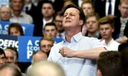 Cameron durante un miting en plena campaña electoral.
