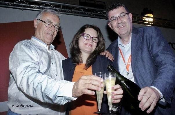 Ribó, Oltra y Morera celebran los resultados de las Elecciones Locales y Autonómicas el pasado domingo.