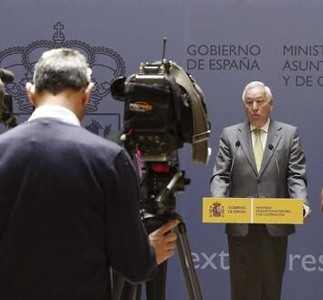 El ministro de Exteriores, José Manuel García-Margallo en una rueda de prensa.