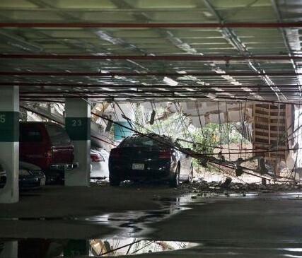 Garage del edificio Watergate donde se produjo el derrumbe.