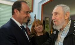 Histórico encuentro en La Habana entre Hollande y Castro. (Foto- Granma).