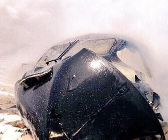 Imagen de la cabina del avión tras su caída y posterior incendio.