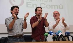Jordi Péris, Antonio Montiel y Pablo Iglesias.