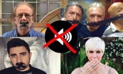 Luis Eduardo Aute, Rosendo, Alex Ubago y Pasión Vega, con la boca tapada para apoyar el 'Día sin música'.