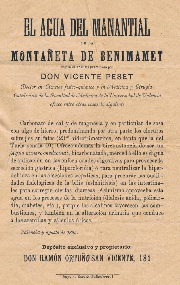 Manantial de Benimamet. 1895. A. P. R. S.