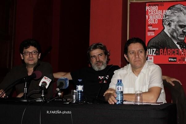 Manolo Solo, Alberto San Juan y Pedro Casablanc durante la rueda de prensa.