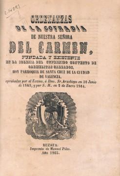 Ordenanzas Cofradía del Carmen. Ruzafa, 1865. A. P. R. S.