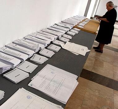 Papeletas de votos.