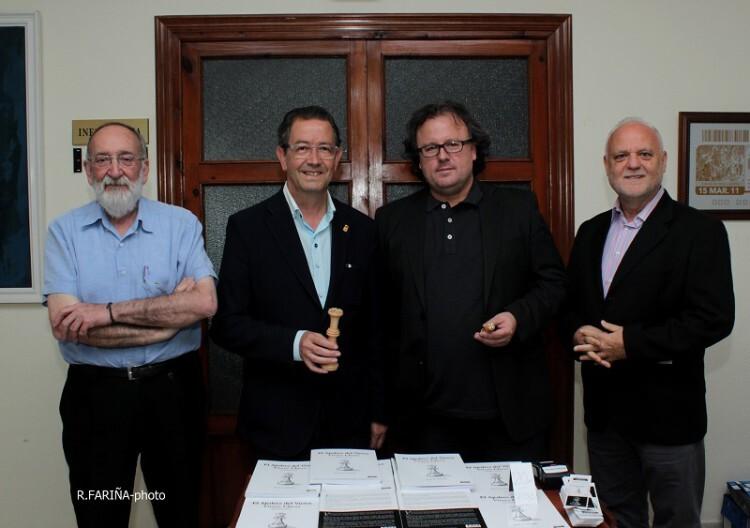 Presentación en Segorbe con Marcos Zacarés (Alenar Editors), Rafael Cavo (Alcalde de Segorbe), José A. Garzón y Rafael Solaz. (Foto- Roberto Fariña)