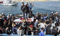 Refugiados llegados a Lampedusa.